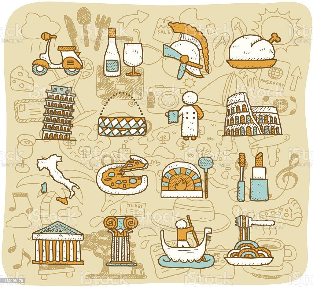 Travel,Landmarks,Italy,Roma,Europe icon set | Mocha Series royalty-free stock vector art