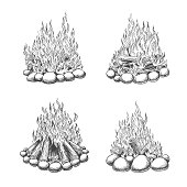 Traveller camping fireplace sketch. Vintage bonfire vector sketch, hand drawn travel camp fire illustration, firewood with flame engraving drawing graphics