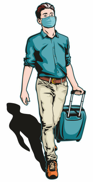 Traveller Man With Face Mask vector art illustration