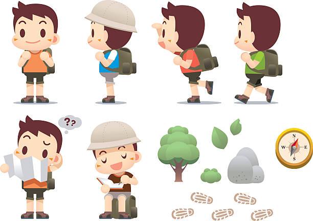 ilustrações, clipart, desenhos animados e ícones de traveller homem, homem de caminhada - explorador