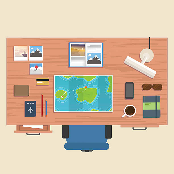 bildbanksillustrationer, clip art samt tecknat material och ikoner med traveller stuff on table - byrålåda