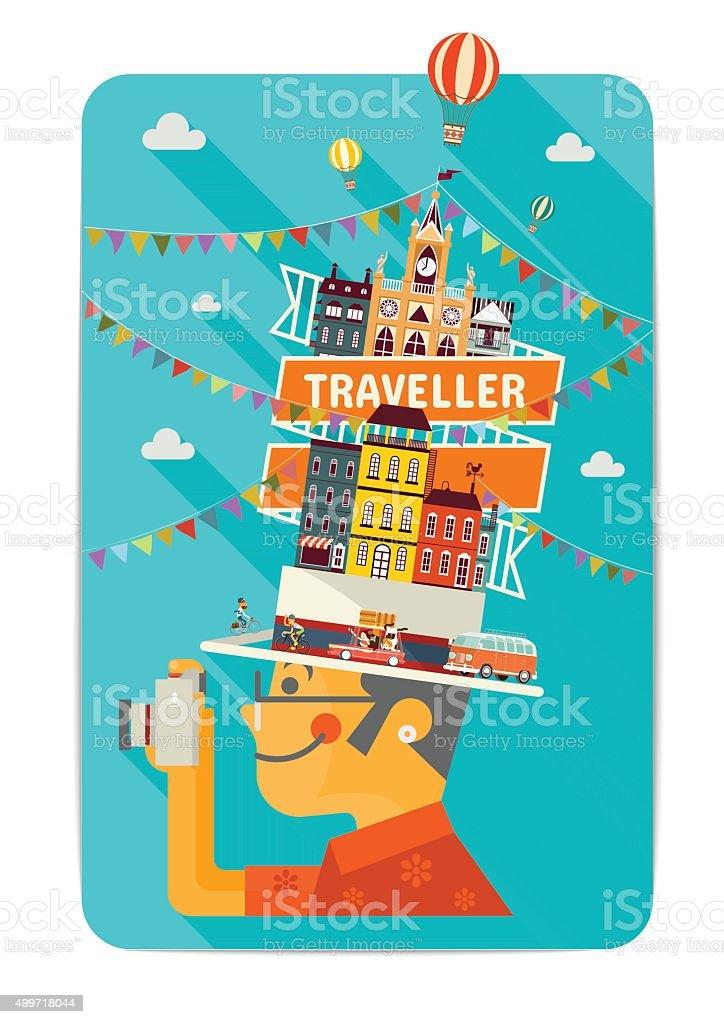 Traveller vector art illustration