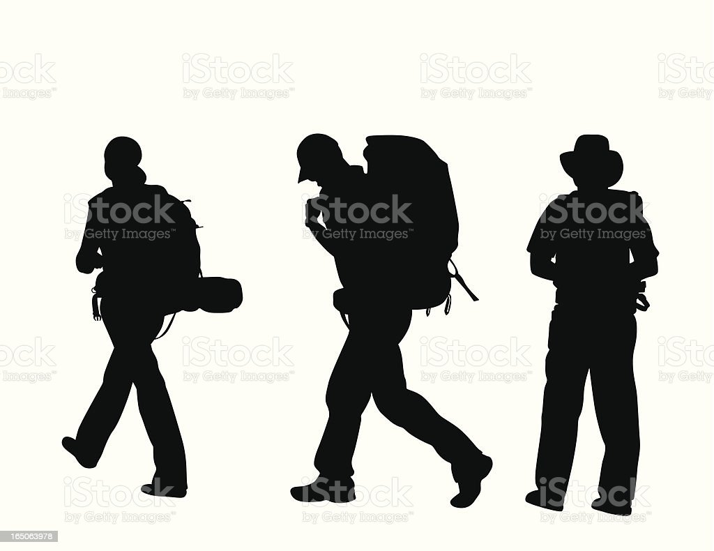 Travellers Three Vector Silhouette royalty-free stock vector art