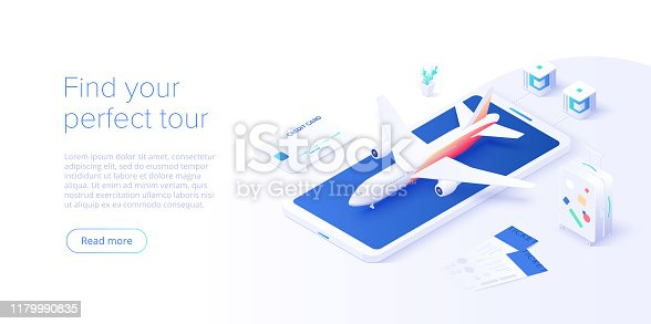 istock Travelling by air concept in isometric vector illustration. Around the world flight tour or trip. Cheap airline tickets searching and booking service Website layout or web banner template. 1179990835