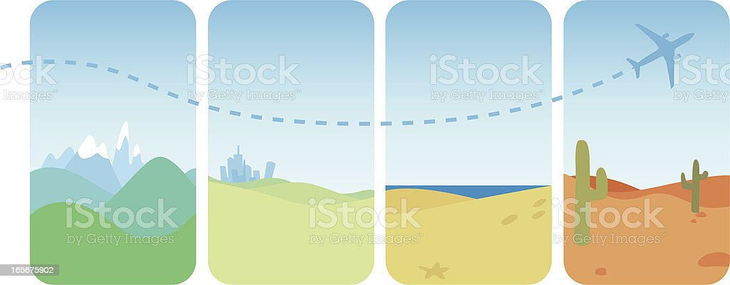 Travelling by Plane royalty-free stock vector art