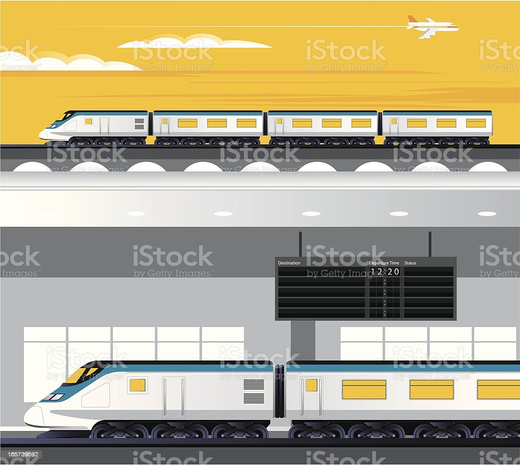 Travelling by train vector illustration royalty-free stock vector art