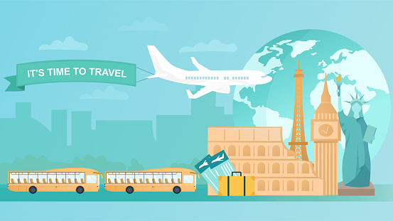 Travelling concept with airplane, tour buses