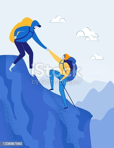 istock Travelling Couple with Backpacks Climbing Rock. 1206967563