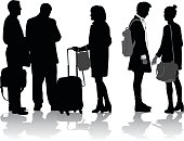 A vector silhouette illustration of groups of people travelling including middle aged business men and woman and a young fashionable couple.