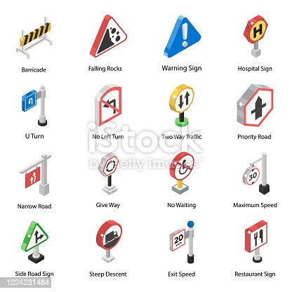 Get the best road indicators isometric vectors pack.These icons are easy to edit and are perfectly suited to all route indicators and travel warnings projects. Download now!