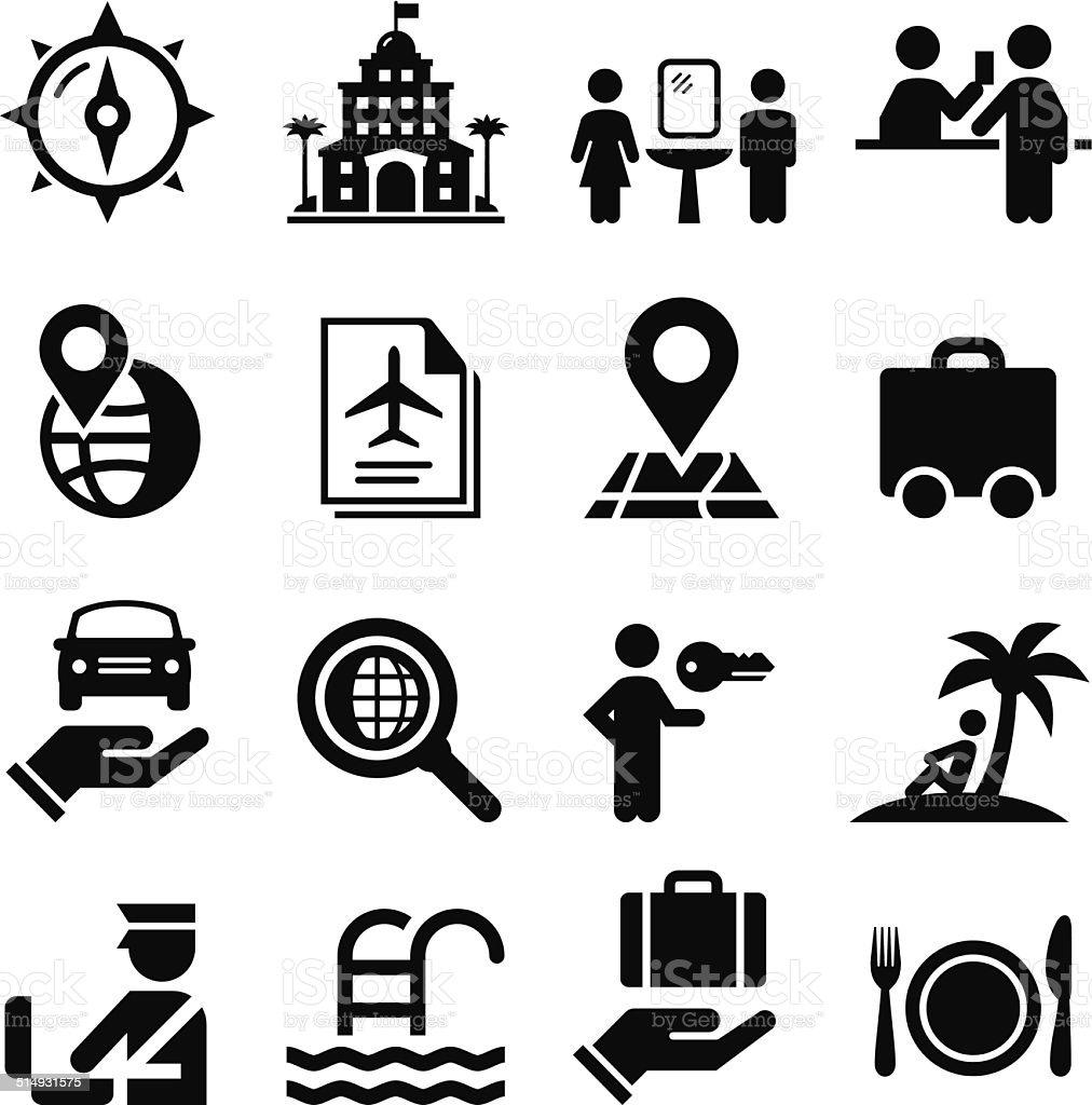 Travelling Icons - Black Series vector art illustration