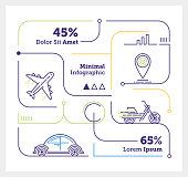 Vector Infographic Line Design Elements for Travelling