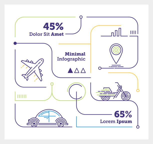 Travelling Mini Infographic Vector Infographic Line Design Elements for Travelling airport drawings stock illustrations