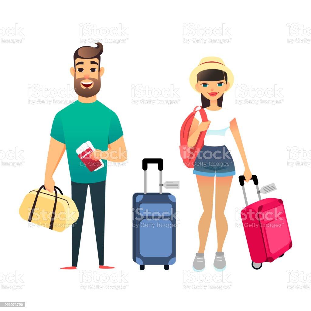 飛行機や電車を待っている人々 を旅行します漫画男と女一緒に旅行します