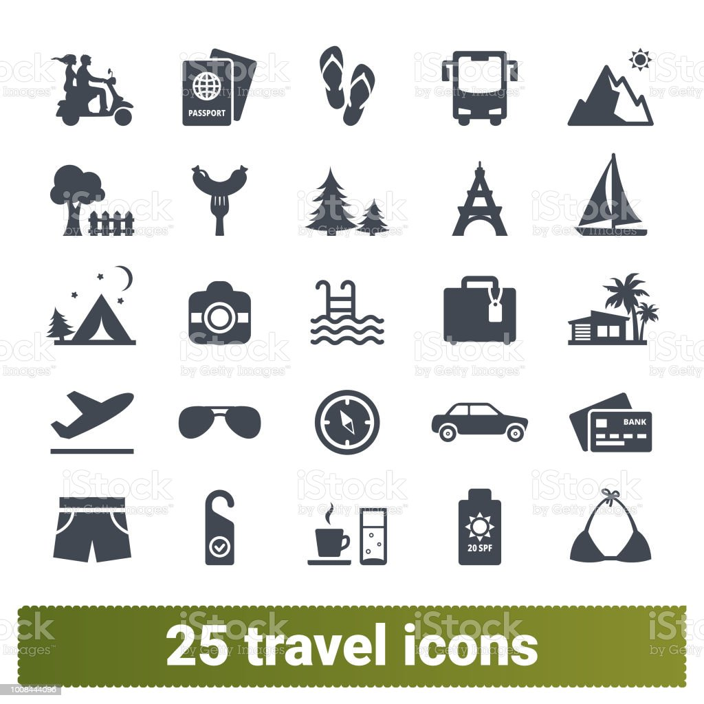 Travelling, Road Trip, Summer Holidays Icons Collection vector art illustration