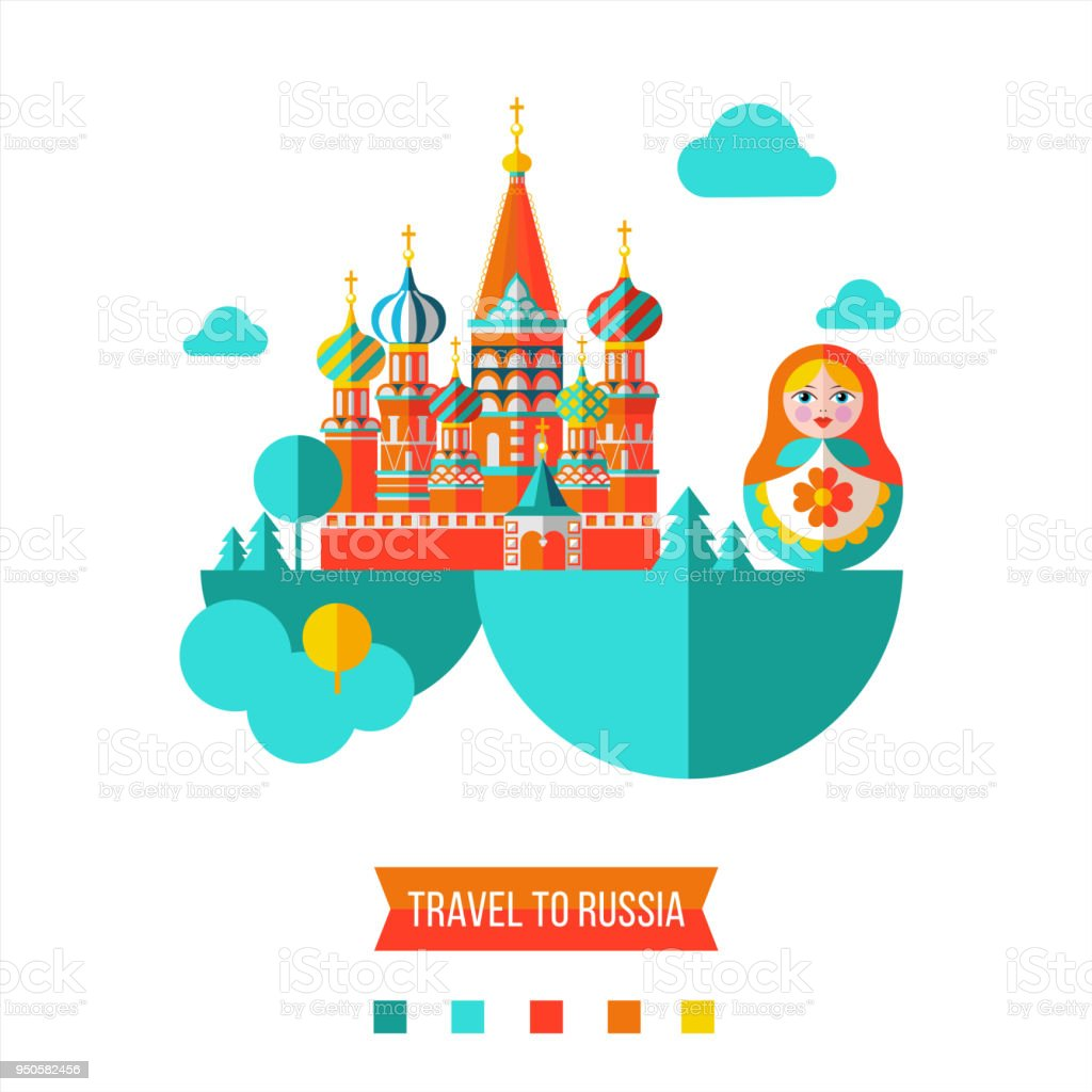 Travelling to Russia. Flat vector illustration. Set of clipart on the Russian theme. vector art illustration