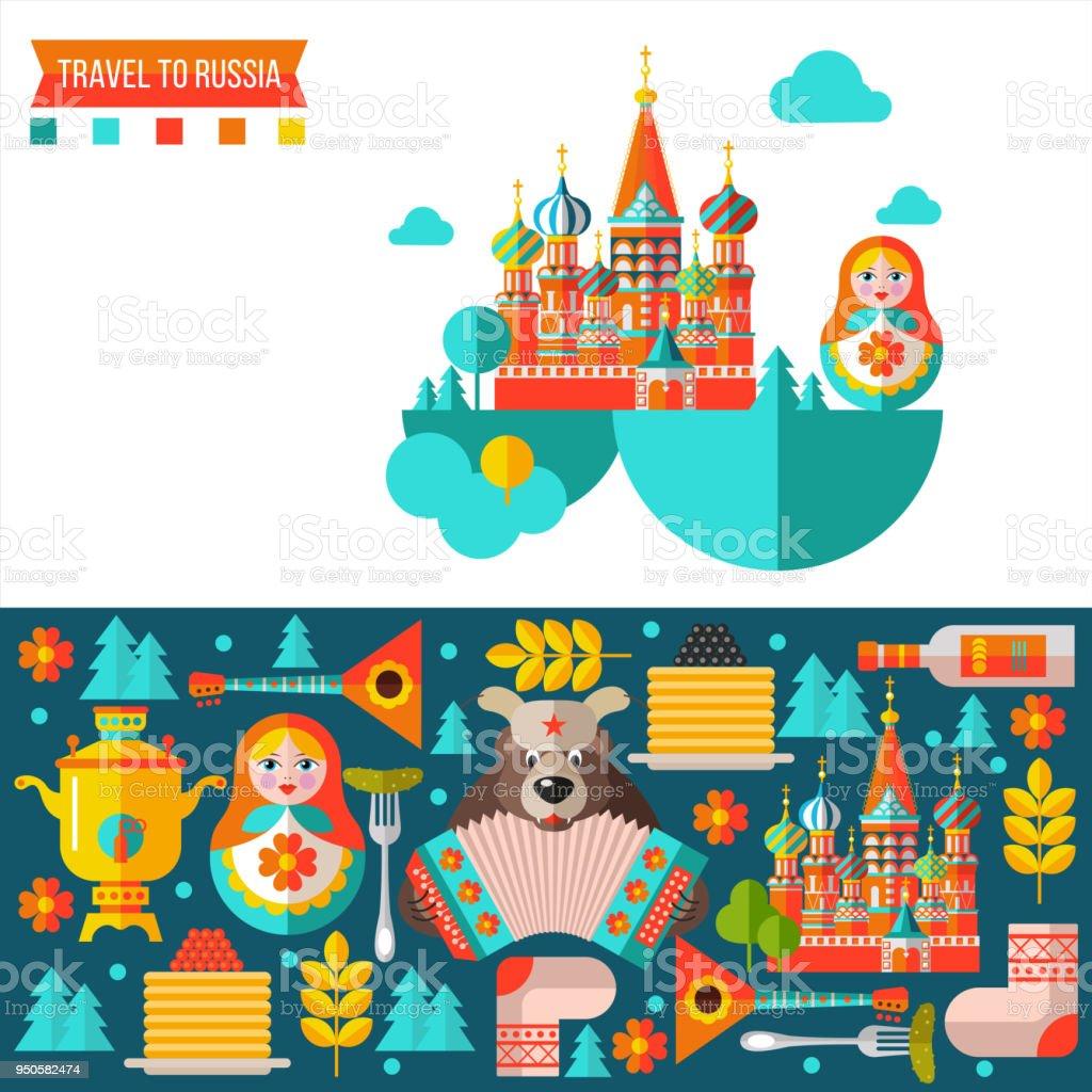 Reisen nach Russland. Flache Vektor-Illustration. Satz von Clipart zum russischen Thema. – Vektorgrafik