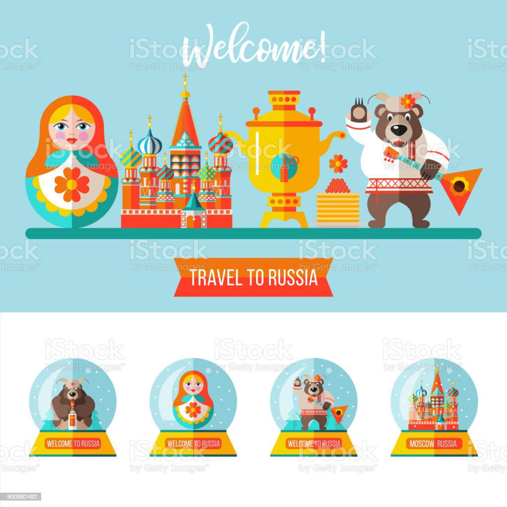 Travelling To Russia Flat Vector Illustration Set Of Clipart On The Russian Theme