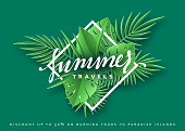 Travels Summer banner tropical background. Summer season vector illustration.