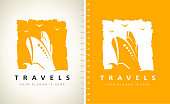 Travels symbol. Ship on the sea vector. Ship and wave design.