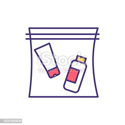 istock Travel-sized container RGB color icon 1305490909