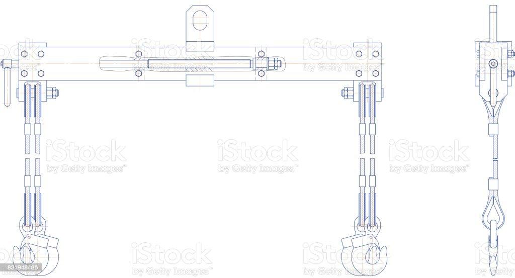 Travers lifting mechanism vector art illustration