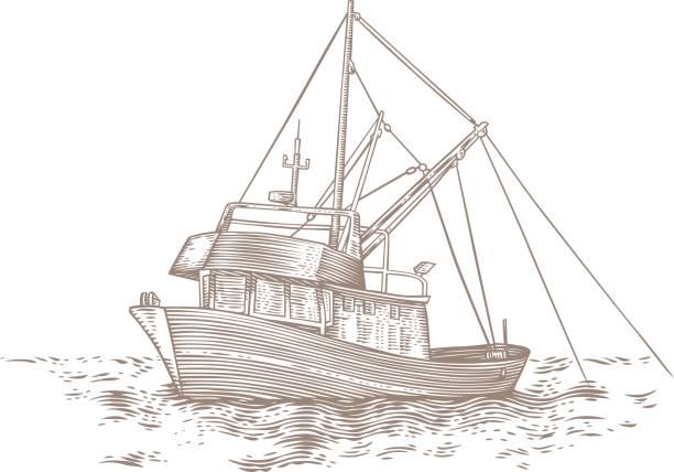 Trawler at the sea Drawing of trawler fishing at the sea fishing boat stock illustrations