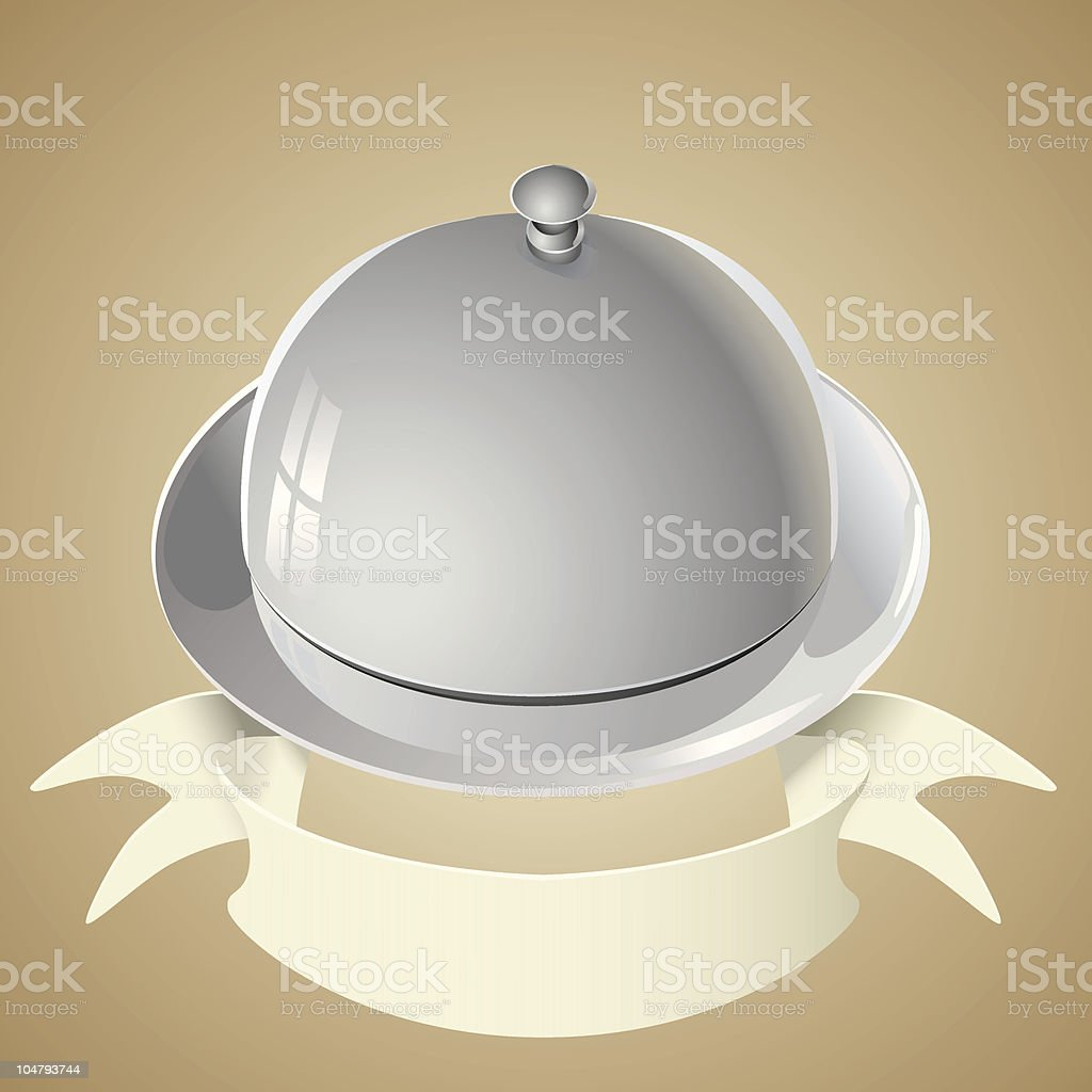 Tray and lid with banner royalty-free stock vector art