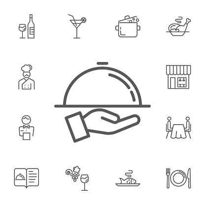 Tray on the hand icon. Simple Set of restaurant Vector Line Icons.