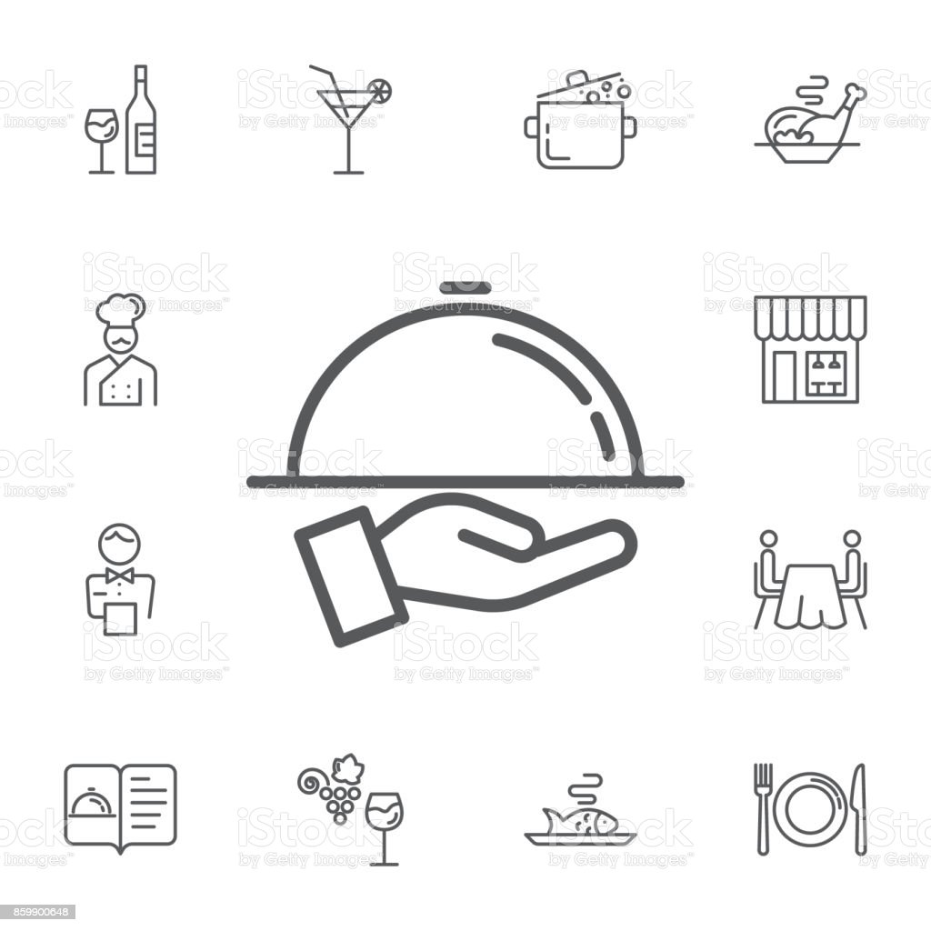 Tray on the hand icon. Simple Set of restaurant Vector Line Icons. vector art illustration
