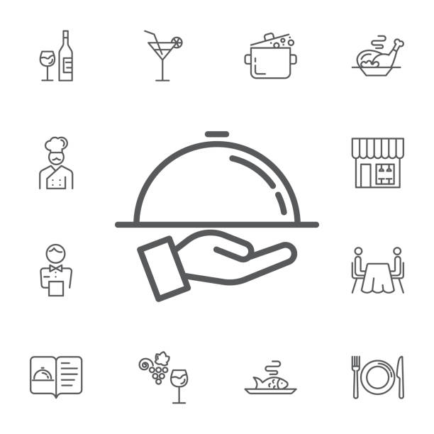 tray on the hand icon. simple set of restaurant vector line icons. - fine dining stock illustrations, clip art, cartoons, & icons