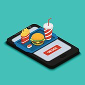 Vector illustration. Tray with burger, french fries and a drink on the smartphone screen. Design for online food order at home. Fast food. Isometry, 3D.