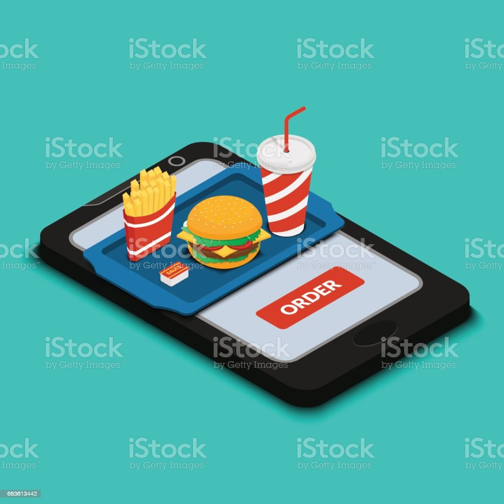 Tray with burger, french fries and a drink on the smartphone scr vector art illustration