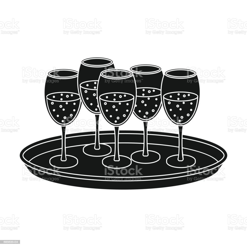 Tray with champagne glasses icon in black style isolated on white background. Event service symbol stock vector illustration. royalty-free tray with champagne glasses icon in black style isolated on white background event service symbol stock vector illustration 관사에 대한 스톡 벡터 아트 및 기타 이미지