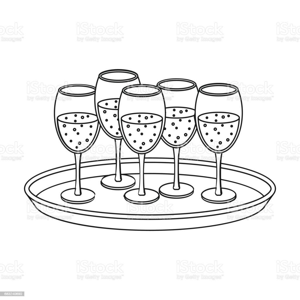 Tray with champagne glasses icon in outline style isolated on white background. Event service symbol stock vector illustration. tray with champagne glasses icon in outline style isolated on white background event service symbol stock vector illustration - arte vetorial de stock e mais imagens de bandeja - utensílio doméstico royalty-free