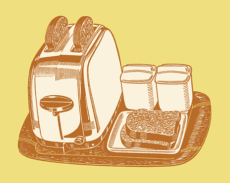 Tray with Toaster and Toast