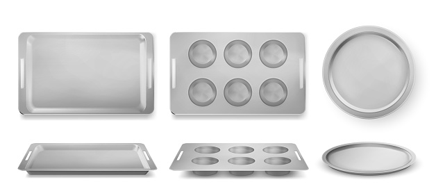 Trays for baking muffins, pizza and bakery set