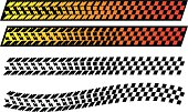 tire tread warping into a checkered flag pattern