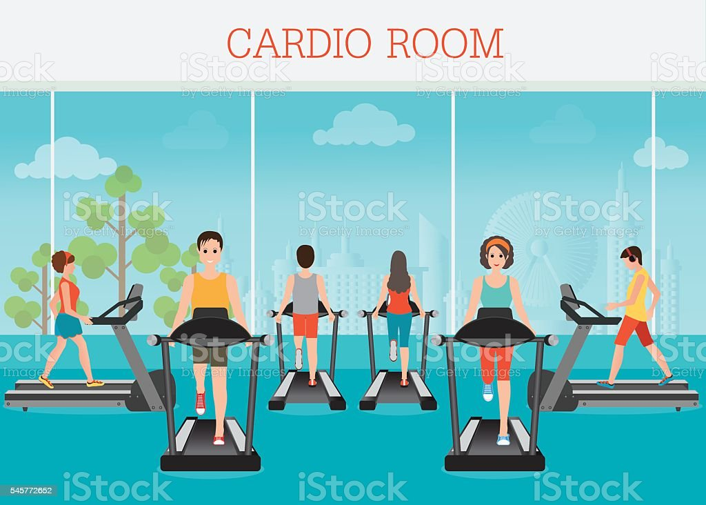 Fat man young old cartoon style fitness people in gym stock vector