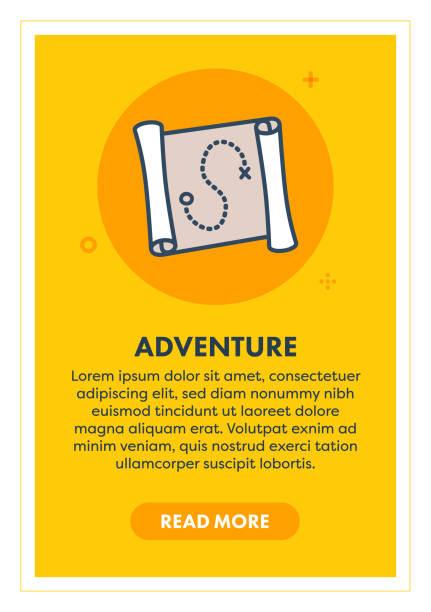 illustrations, cliparts, dessins animés et icônes de treasure adventure web bannière illustration avec icône. - cartes au trésor