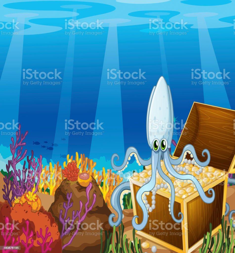 treasure box under the sea with an octopus vector art illustration