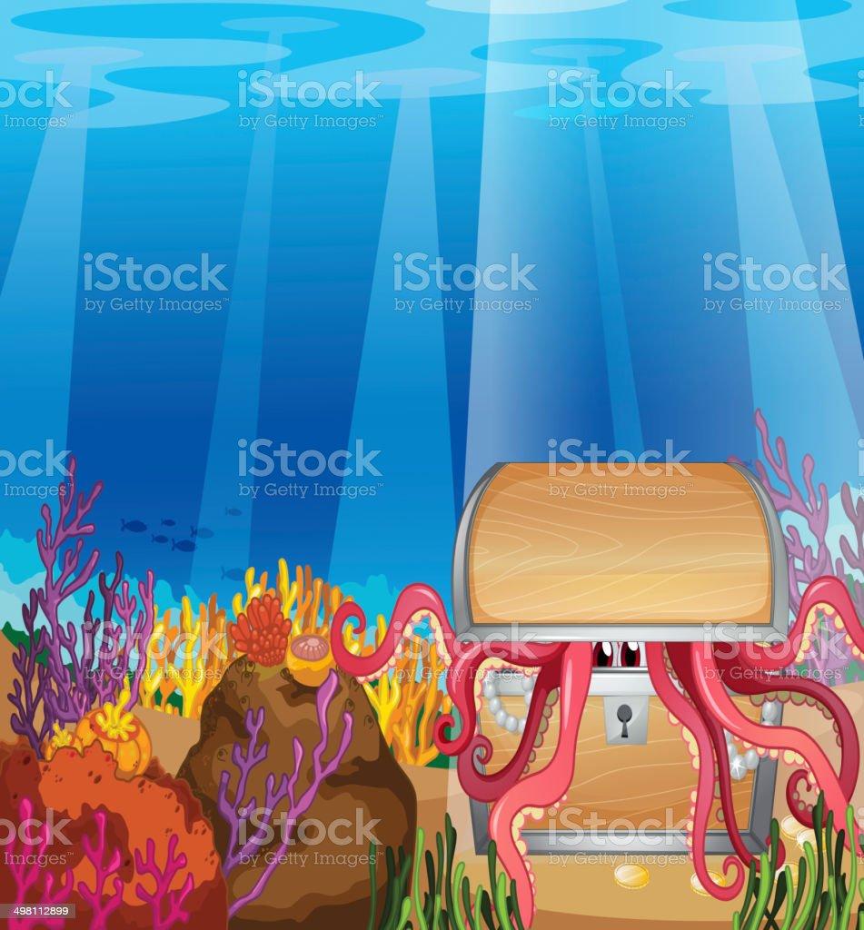 Treasure box with an octopus vector art illustration