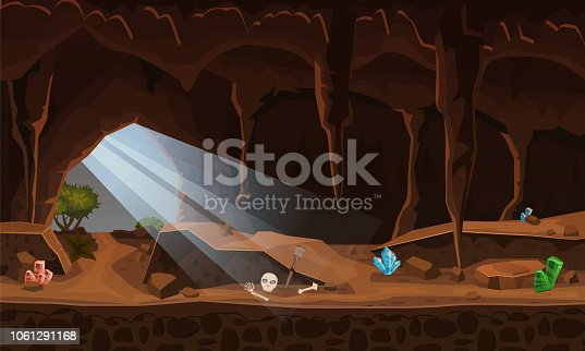 Treasure cave with crystals. Concept, art for computer game