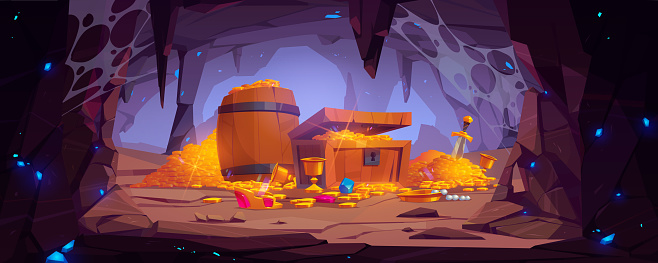 Treasure cave with gold coins in chest and barrel