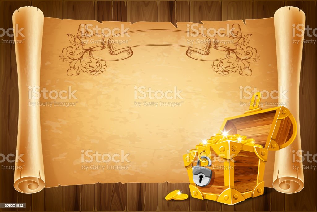 Treasure chest and antique scroll vector art illustration