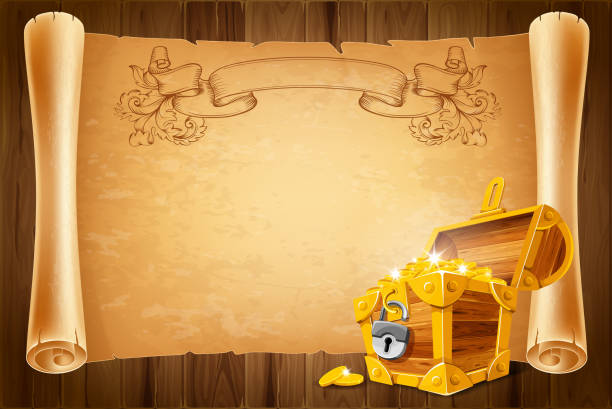 treasure chest and antique scroll - dostatek stock illustrations