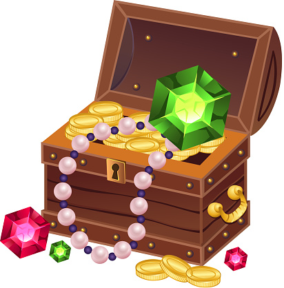 treasure chest and coins isolated on white background