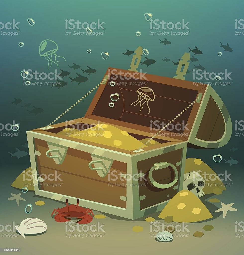 Treasure chest at bottom of the sea. Vector illustration. vector art illustration