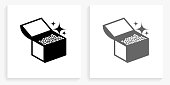 Treasure Chest Black and White Square Icon. This 100% royalty free vector illustration is featuring the square button with a drop shadow and the main icon is depicted in black and in grey for a roll-over effect.