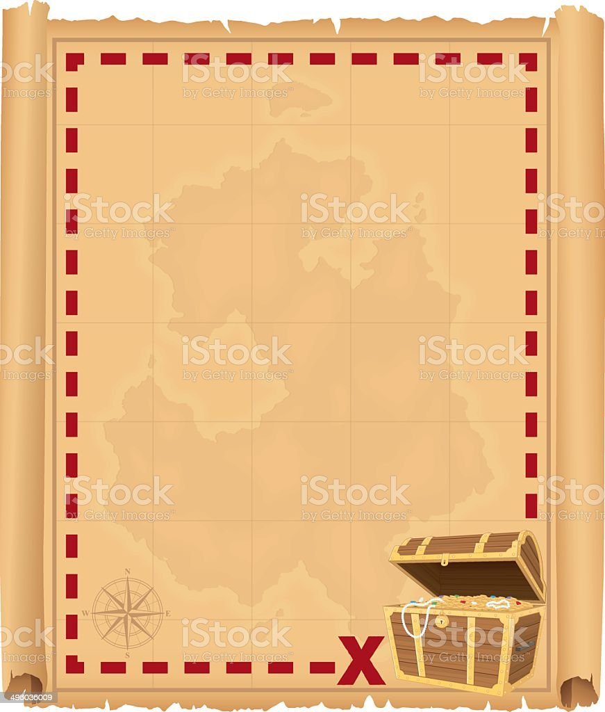 Treasure Chest Border vector art illustration